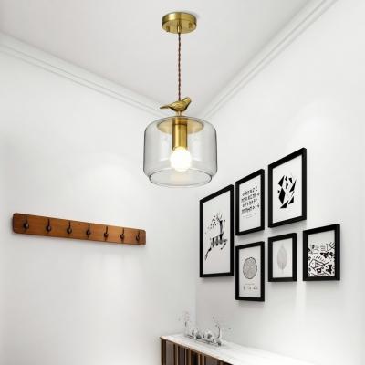 Clear Glass Jar Pendant Lamp With Bird Decoration 1 Light Rustic