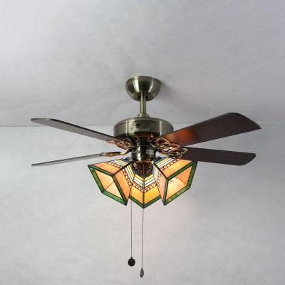 Craftsman Living Room Semi Flush Ceiling Light Metal 3 Heads Vintage Ceiling Fan with Wood Blade