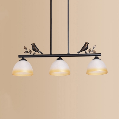 Dome Shade Island Light with Bird Decoration 3 Lights Traditional Frosted Glass Pendant Lamp in Black for Balcony