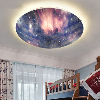 Dome Shade Universe Ceiling Light Beautiful Glass Colorful LED Flush Mount Light for Kindergarten