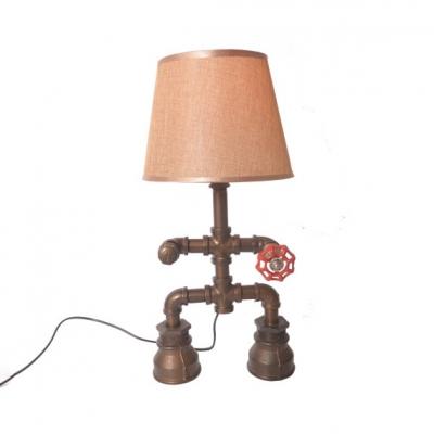 Fabric Bucket Desk Light Robot Shape 1 Light Retro Loft Reading Light in Beige for Study Room