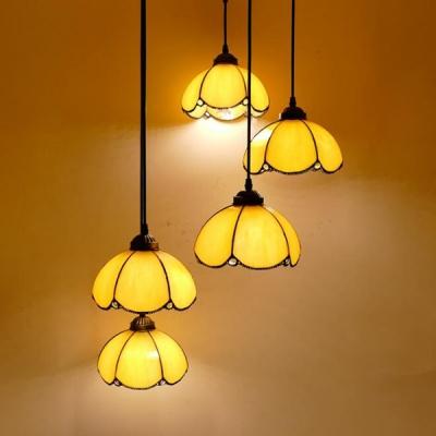Glass Bowl Shape Pendant Light 5/8 Heads Tiffany Vintage Style Hanging Light for Swirl Glass