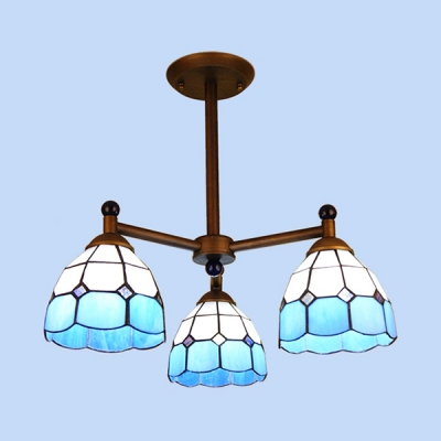 Glass Dome Shade Chandelier Bedroom Hallway 3 Lights Tiffany Style Hanging Light in Blue/Orange/Yellow