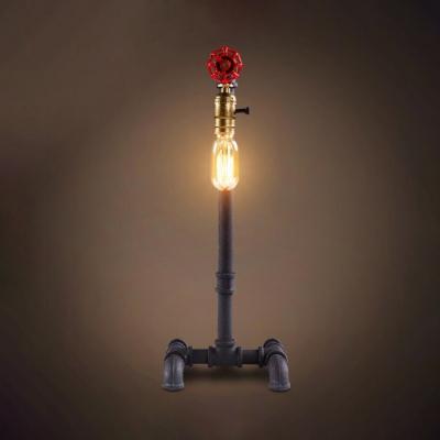 Glass Open Bulb Desk Light 1 Light Antique Style Desk Lamp with Water Pipe for Restaurant