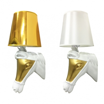 Gold/White Tapered Shade Wall Light 1 Light Creative Resin Sconce Lamp with Horse for Bedroom