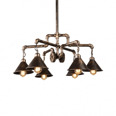 Industrial Cone Shade Chandelier with Pipe & Gear 6 Lights Metal Pendant Light in Brass for Cafe