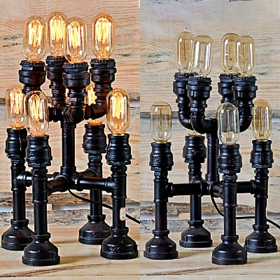 Industrial Bare Bulb Desk Lighting Plug In Metal Reading Light with Water Pipe Chain for Bar