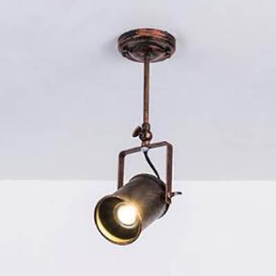 Industrial Cup Shade Semi Flush Mount Light 1/2/3 Lights Metal Rotatable Spot Light in Rust for Cloth Shop