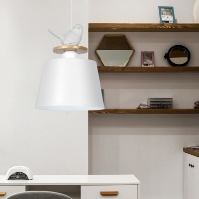 Macaron Loft Bucket Pendant Light with Bird Aluminum One Light Black/Gray/White Hanging Light