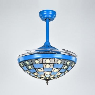 Mediterranean Bowl Semi Flushmount Light Glass 42