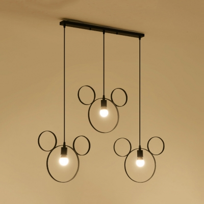 Metal Ring Pendant Light 3 Lights Industrial Hanging Lamp in Black for Bedroom Study Room