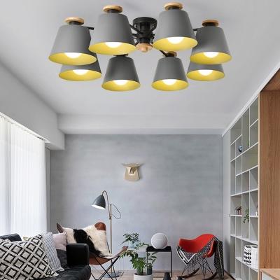Metal Tapered Semi Ceiling Mount Light Living Room 8 Lights Modern Overhead Light in Green/Gray