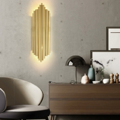 Metal Tube Sconce Light Dining Room Hallway 4 Lights Colonial Style Wall Lamp in Brass