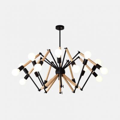 Modern Black/White Hanging Light Spider 8/10/12/16 Lights Metal Chandelier for Coffee Shop