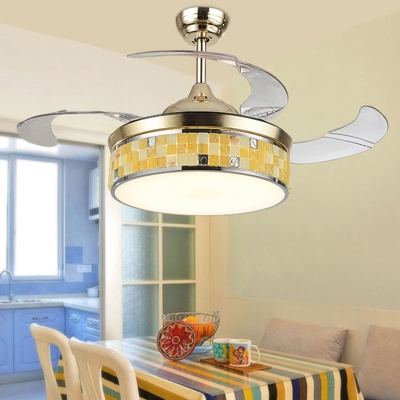 Mosaic Round Ceiling Lamp Acrylic Remote Control Frequency Conversion Blue/Yellow LED Ceiling Fan for Study Room
