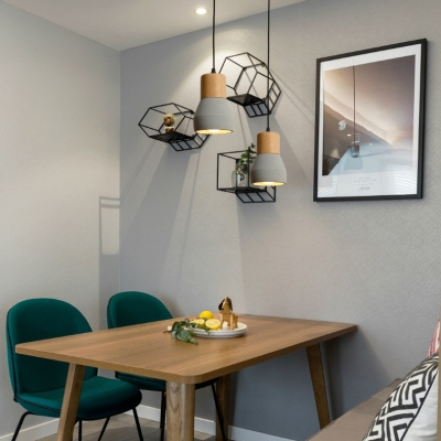 Nordic Style Pendant Light Single Head Cement & Wood Hanging Lamp in Blue/Gray/Green/Red for Hallway