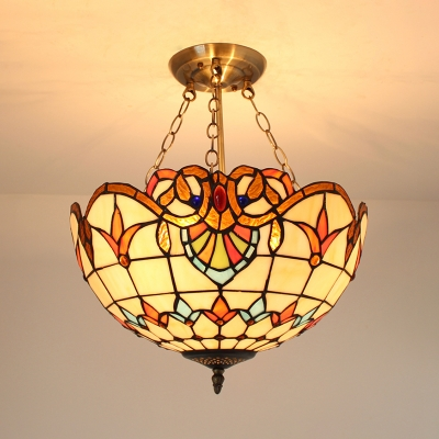 Restaurant Domed Shade Chandelier Stained Glass Tiffany Style Victorian Hanging Light