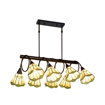 Rustic Style Beige Chandelier Cone Shade 8 Lights Glass Hanging Light with Leaf for Living Room