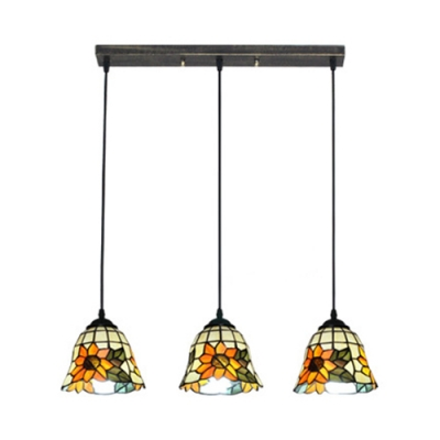 Rustic Style Bell/Dome Pendant Light with Sunflower 3 Lights Stained Glass Hanging Light for Restaurant