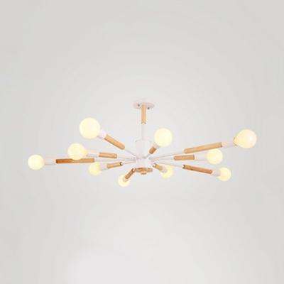 Spider Shape Hanging Light 6/8/10 Lights Modern Stylish Metal Chandelier in Black/Gray/Green/White for Bedroom