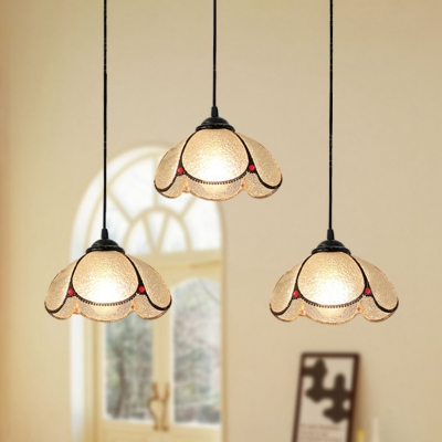 Tiffany Style Domed Ceiling Pendant Frosted Glass 2/3 Heads Black Hanging Light for Restaurant