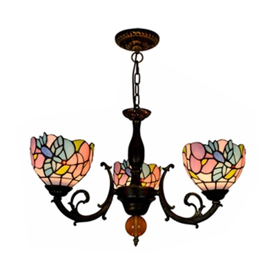 Tiffany Style Rustic Bird Chandelier 3 Lights Stained Glass Pendant