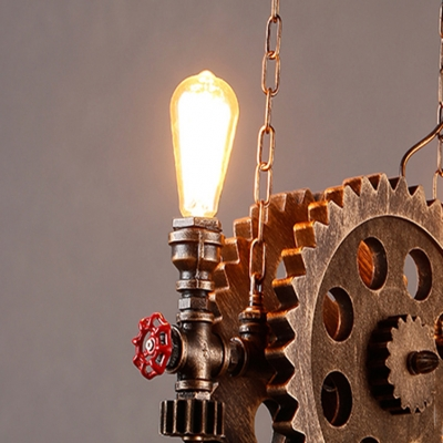 Glass Edison Bulb Hanging Light with Gears Cafe 2 Lights Vintage Style Pendant Lamp in Rust