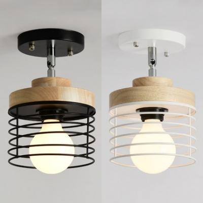 Rotatable Black/White Semi Flush Light with Wire Frame 1 Head Metal Ceiling Light for Corridor