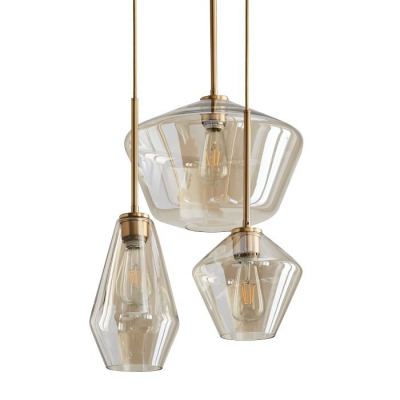 Modern Stylish Hanging Light with Shade One Light Amber/Clear Glass Suspension Light for Bedroom