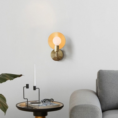 Traditional Brass Wall Sconce with Adjustable Shade 1 Light Metal Wall Light for Bedroom