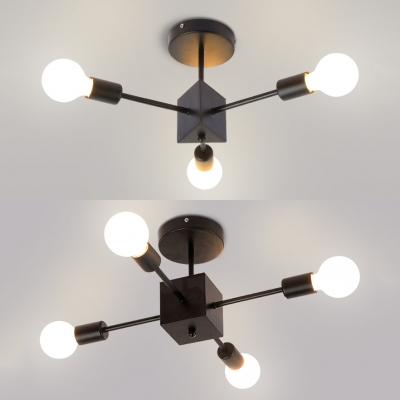 Metal Bare Bulb Ceiling Fixture 3 4 Lights Modern Style Semi Flush