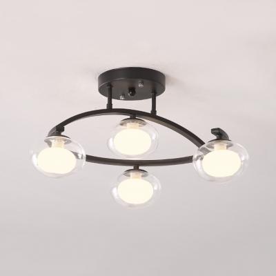 Glass Oval Shade Semi Flush Mount Light Dining Room 4/7 Bulbs LED Ceiling Lamp in Black/Gold/White