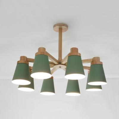 6/8 Lights Tapered Shade Pendant Light Modern Wood Chandelier in Green for Living Room
