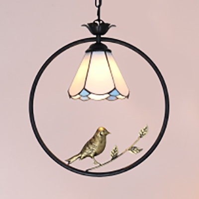 Antique Brass Bird Hanging Light Single Light Glass Pendant Lighting for Dining Room