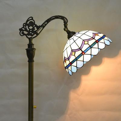 Antique Brass Floor Lamp Blue/Baroque/Rose/Victorian 1 Light Wrought Iron Floor Light for Bedroom