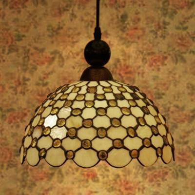 Bead/Dragonfly/Leaf Bedroom Pendant Light Glass 1 Light Tiffany Style Vintage Pendant Lamp