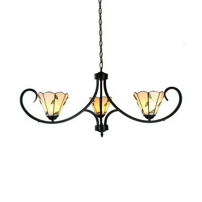 Beige Cone Shade Ceiling Light with Leaf 3 Lights Rustic Style Glass Chandelier for Study Room