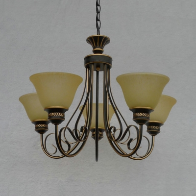 Bell Shade Bedroom Chandelier Opal Glass 5 Lights Traditional Hanging