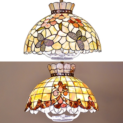 Bloom/Butterfly Dining Table Pendant Light 16 Inch Shell Rustic Style Hanging Light in Beige