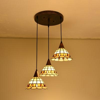 Stained Glass Hanging Lamp.Blue Craftsman Yellow Bell Pendant Light Tiffany Stylish 3 Lights