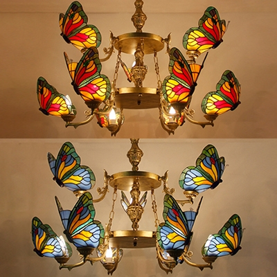 Blue/Red Butterfly Hanging Lighting Tiffany Style Rustic Stained Glass