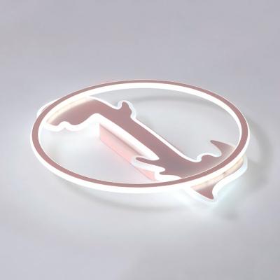 Boy Girl Bedroom Ring Ceiling Fixture Acrylic Lovely Third Gear/Warm/White Lighting LED Flush Mount Light in Blue/Pink