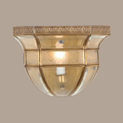 Candle Shape Study Room Sconce Light with Shade Glass 1 Light Traditional Wall Lamp in Brass