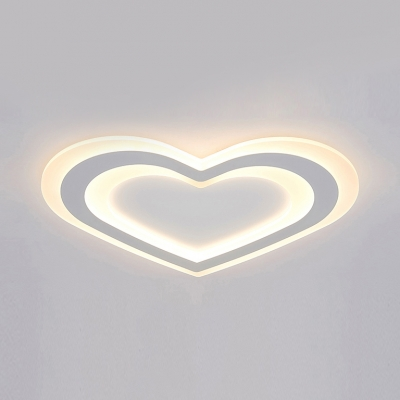 Cartoon White Flush Ceiling Light Heart Acrylic Warm/White Lighting LED Ceiling Lamp for Teen