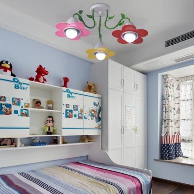 Colorful Flower Semi Flush Mount Light 3/5 Lights Lovely Metal Light Fixture for Child Bedroom