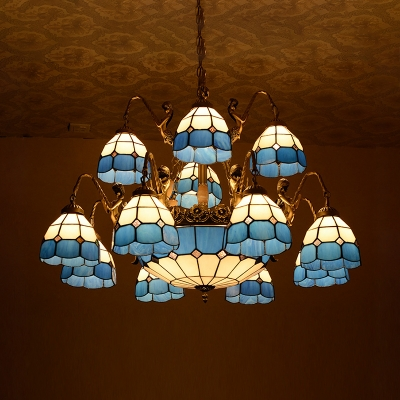 Dome Villa Hotel Chandelier with Mermaid Glass 15 Lights Tiffany Style Antique Hanging Lamp in Blue