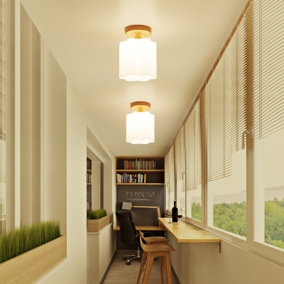 Frosted Glass Downward Ceiling Fixture Hallway 1 Light Contemporary Flush Light in White