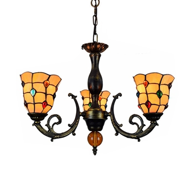 Glass Bell Shade Chandelier with Colorful Jewelry Bedroom 3 Lights Vintage Style Hanging Light in Beige