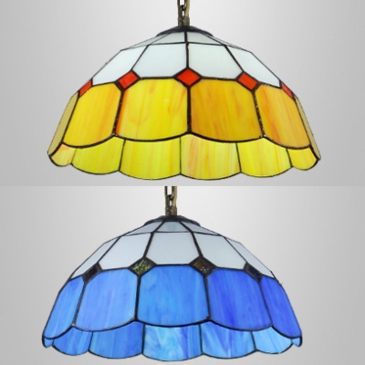 Glass Bowl Shade Ceiling Pendant 1 Light Tiffany Antique Hanging Light in Blue/Yellow for Stair
