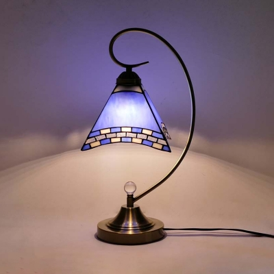 Glass Craftsman Desk Light Study Room 1 Head Vintage Tiffany Table Light in Blue with Plug-In Cord